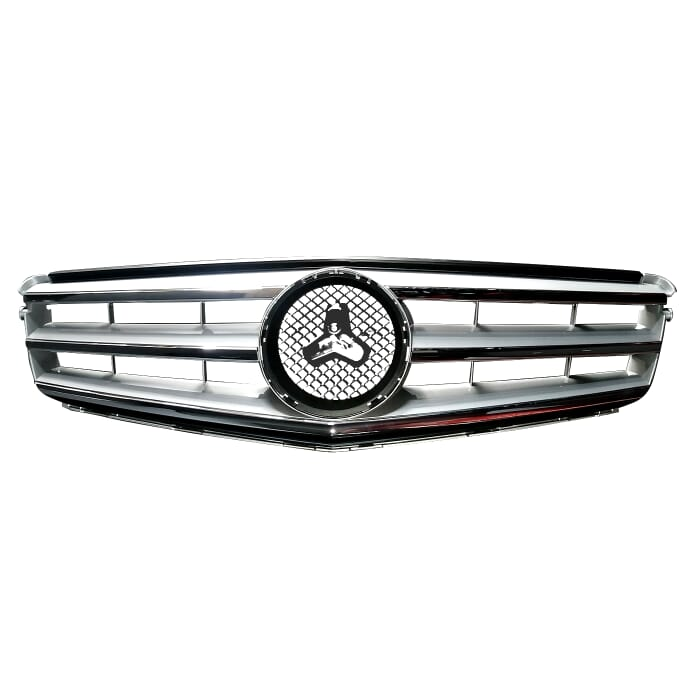 Mercedes-benz W204 Main Grill Sport Silver With Chrome Beading