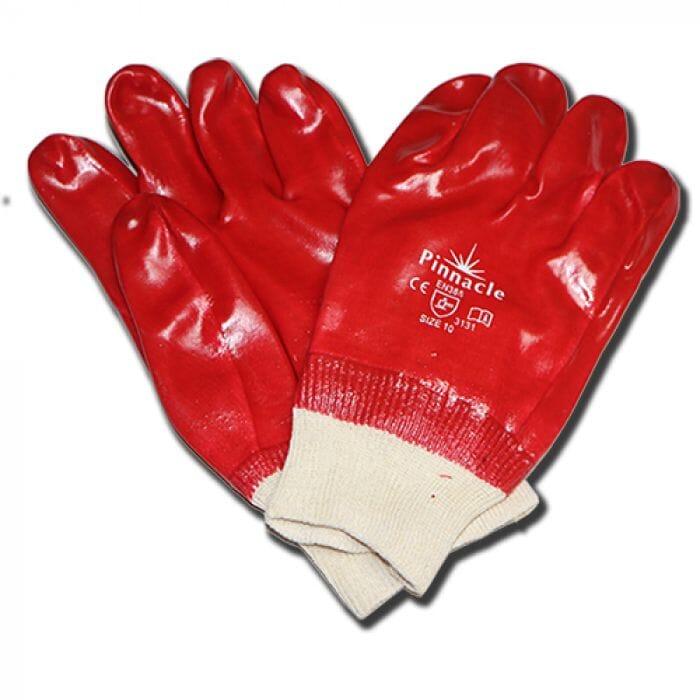Pinnacle PVC Red Glove Knit Wrist ( Priced per pair ) 120 Per Box or pack of 12