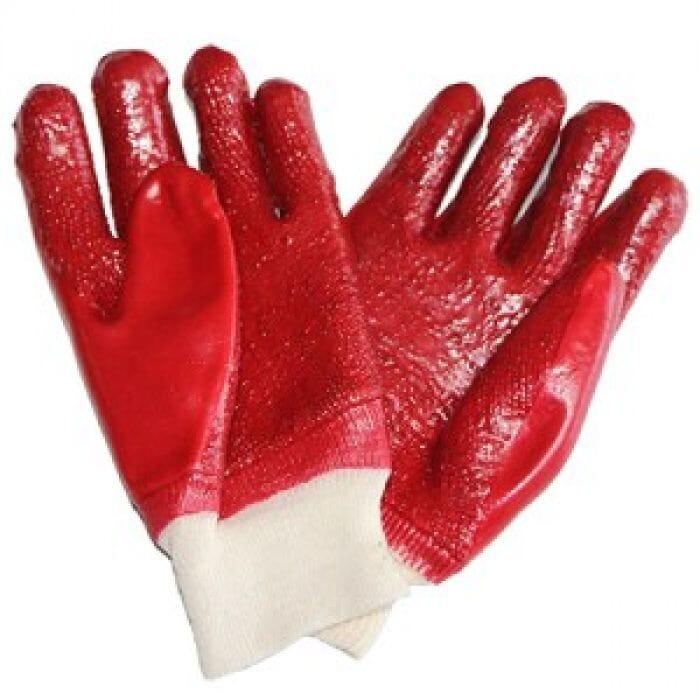 Pinnacle PVC Red Rough Palm Heavy Duty Glove Knit Wrist (Priced per pair )