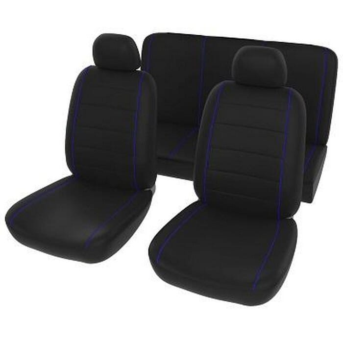 Universal Seat Cover Black+Blue 6Ppc