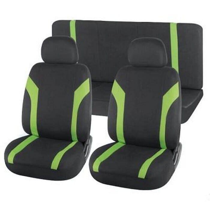 Universal Seat Cover Black+Green 6Ppc