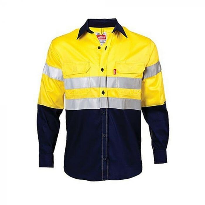 Pinnacle HIVIZ 2 Tone Workwear Navy / Yellow Vented Reflective Shirt 100% cotton S-3XL