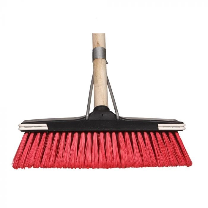 Promop Deluxe Broom With Soft Flagged Bristles And Wooden Handle