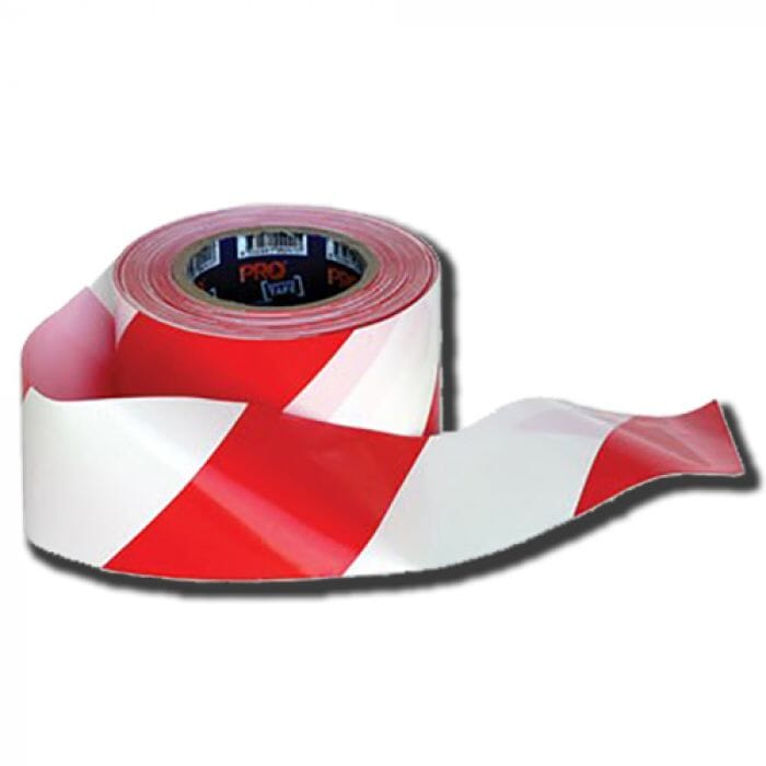 Pinnacle Red & White Barrier Tape 75mm x 100m x 50mic