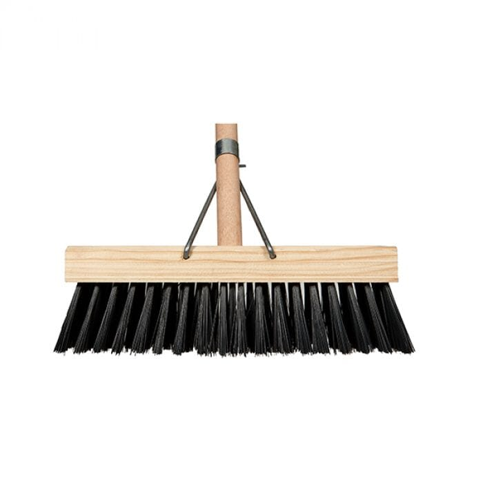 Promop Platform Broom - Soft Black Bristles 305mm (With Metal Support)