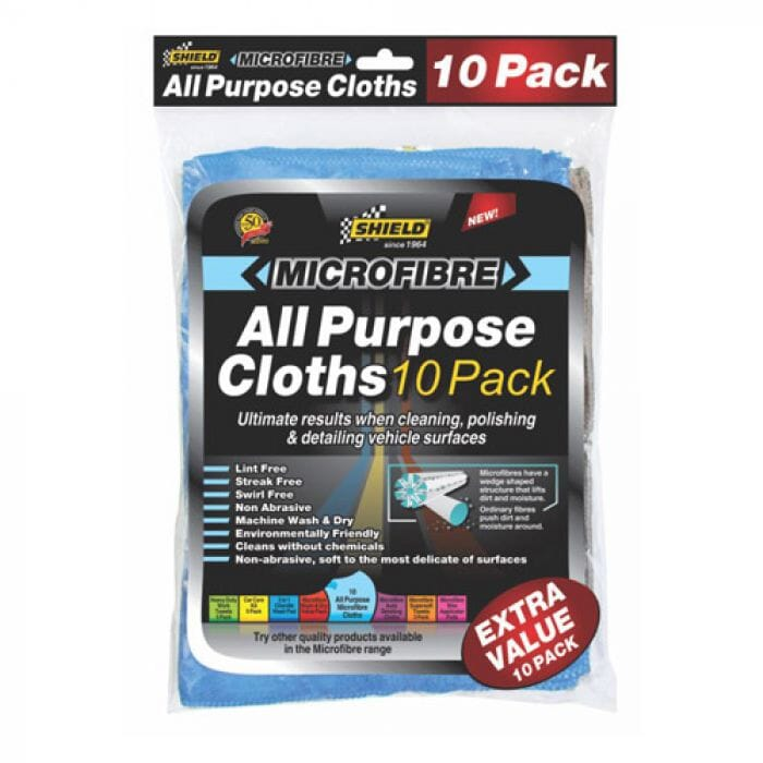 Shield Microfibre All Purpose Cloths – Extra Value (10 Pack)