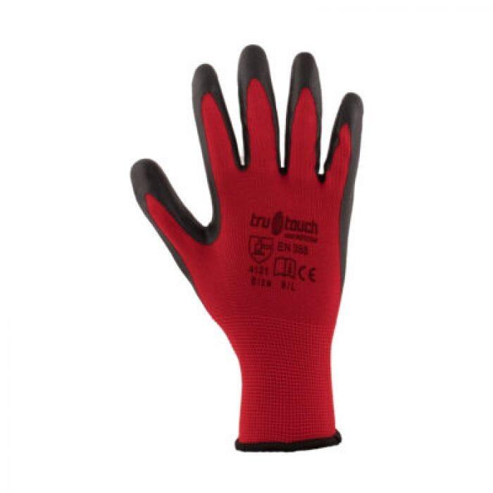 Tru touch Red Polyurethane Coated Gloves - Size Medium
