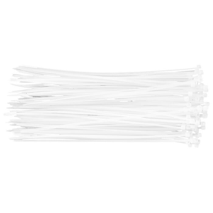 Topex 2.5mm x 200mm WHITE CABLE TIES (44E971)