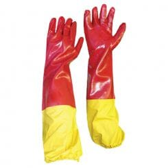 Pinnacle PVC RED SMOOTH SHOULDER GLOVE (YELLOW ELASTICATED ATTACHMENT)